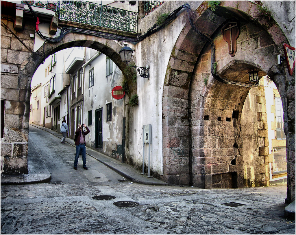 Gothic street architecture at the Betanzos