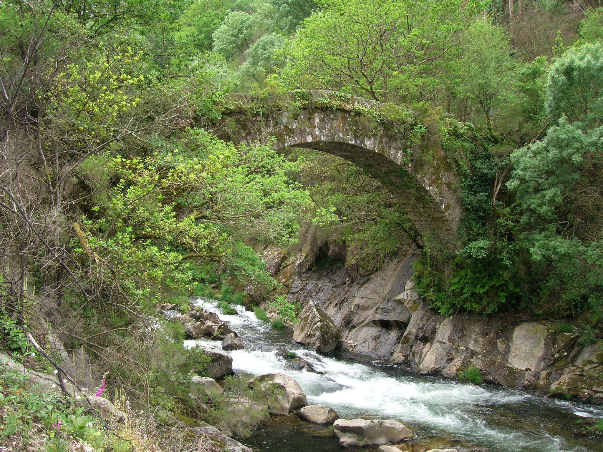 San Xurxo bridge over the Lerez River, in Cotobade